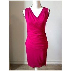 Ann Taylor Pink Sleeveless Ruched Dress Small